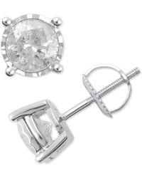 Macy's - Diamond Stud Earrings (1-1/2 Ct. T.w.) In 14k White Gold - Lyst