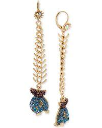 Betsey Johnson Gold-tone Glitter Fish Drop Earrings - Blue