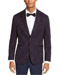 Kenneth Cole Reaction Slim-fit Navy Jacquard Evening Jacket, Created For Macy's - Blue