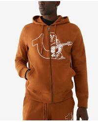 True Religion Half Logos Zip Up Hoodie - Brown