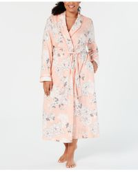 Charter Club Plus-size Printed Soft Knit Cotton Long Robe, Created For Macy's - Pink