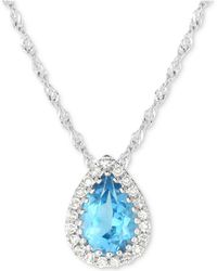 """Macy's - Blue Topaz (3/4 Ct. T.w.) & Diamond Accent 18"""" Pendant Necklace In 14k White Gold - Lyst"""