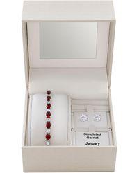 Macy's - Simulated Garnet Slider Bracelet & Cubic Zirconia Stud Earrings Set In Fine Silver-plate, January Birthstone - Lyst