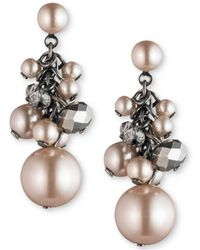 Carolee - Hematite-tone Shaky Bead Drop Earrings - Lyst