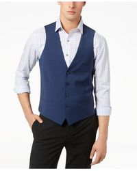 Bar Iii Slim-fit Active Stretch Performance Wool Vest, Created For Macy's - Blue