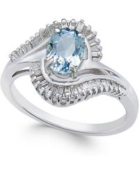 Macy's - Aquamarine (3/4 Ct. T.w.) & Diamond (3/8 Ct. T.w.) Ring In 14k White Gold - Lyst