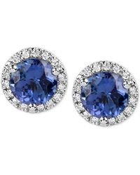 Macy's - Tanzanite (1-3/4 Ct. T.w.) And Diamond (1/6 Ct. T.w.) Stud Earrings In 14k White Gold - Lyst