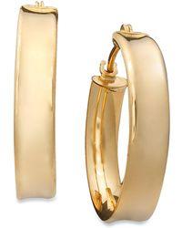 Macy's - 10k Gold Earrings, Ribbed Hoop - Lyst