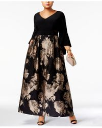 Xscape - Plus Size Brocade Bell-sleeve Gown - Lyst