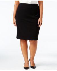 Nine West Plus Size Crepe Skirt - Black