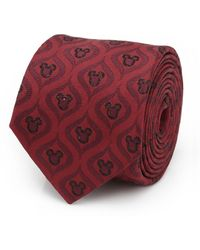 Disney Mickey Mouse Holiday Metallic Silk Tie - Red