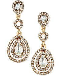 Charter Club - Gold-tone Crystal And Pavé Orbital Drop Earrings, - Lyst