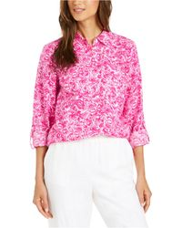 Charter Club Linen Printed Blouse, Created For Macy's - Pink