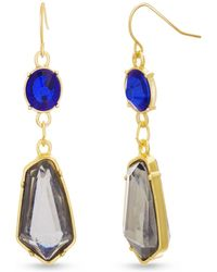 Catherine Malandrino - Multicolored Blue And Grey Rhinestone Chain Yellow Gold-tone Drop Earrings - Lyst