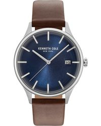 Kenneth Cole - Men's Brown Leather Strap Watch 42mm Kc15112001 - Lyst