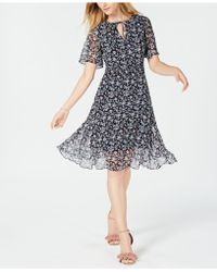Maison Jules - Floral-print Flutter-sleeve Dress, Created For Macy's - Lyst