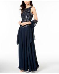 J Kara Handbeaded Sleeveless Gown With Shawl - Blue
