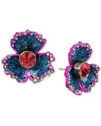 Betsey Johnson - Two-tone Multi-stone & Glitter Flower Stud Earrings - Lyst