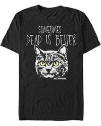 Fifth Sun Chuch Cat Face Dead Is Better Short Sleeve T- Shirt - Black