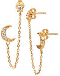 Giani Bernini - Cubic Zirconia Celestial Double Pierced Stud Earrings In 18k Gold-plated Sterling Silver, Created For Macy's - Lyst