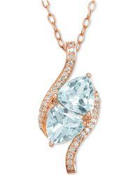 "Macy's - Swiss Blue Topaz (1-2/3 Ct. T.w.) & Diamond Accent 18"" Pendant Neckace In 10k Gold - Lyst"