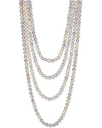 """Macy's - 100"""" Cultured Freshwater Pearl Endless Strand Necklace (7-8mm) - Lyst"""