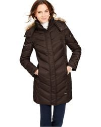 Kenneth Cole Faux-fur-trim Hooded Down Puffer Coat - Brown