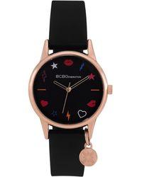 BCBGeneration Ladies 3 Hands Slim Black Silicone Strap Watch, 33 Mm Case