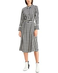 Alfani Houndstooth Button Down Midi Dress, Created For Macy's - Black