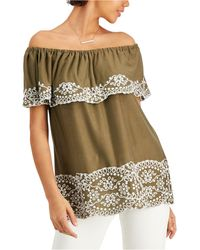 Fever Embroidered Off-the-shoulder Top - Green