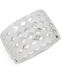 Touch Of Silver - Openwork Wide Hinged Bangle Bracelet In Silver-plate - Lyst