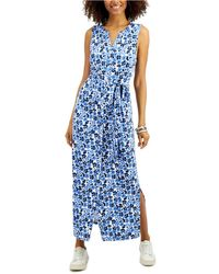 Charter Club Petite Floral-print Dress, Created For Macy's - Blue