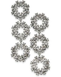 INC International Concepts - Silver-tone Pavé Circle Triple Drop Earrings - Lyst