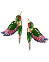 Bar Iii Zerina Akers Gold-tone Multicolour Hummingbird Drop Earrings, Created For Macy's - Metallic