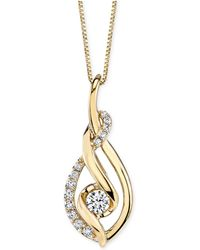 Macy's - Diamond Spiral Pendant Necklace (1/3 Ct. T.w.) In 14k Gold - Lyst