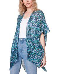 Steve Madden Floral Kimono Coverup - Blue