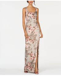 Adrianna Papell Metallic Floral-print Gown - Multicolour