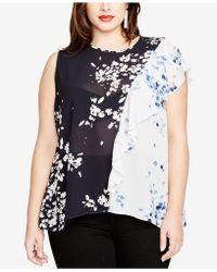 RACHEL Rachel Roy - Trendy Plus Size Sheer Colorblocked Blouse - Lyst