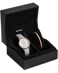 MVMT Boulevard Beverly Marble Light Gray Leather Strap Watch 38mm Gift Set