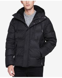 Andrew Marc - Men's Groton Quilted Hooded Puffer Coat With Removable Faux-shearling Bib - Lyst