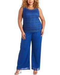 R & M Richards Plus Size Embellished Blouse, Jacket & Pants - Blue