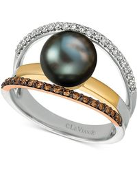 Le Vian - Cultured Black Pearl (10mm) & Diamond (3/8 Ct. T.w.) Ring In 14k Gold, White Gold & Rose Gold - Lyst