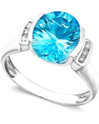 Macy's | 14k White Gold Ring, Blue Topaz (3-5/8 Ct. T.w.) And Diamond Accent | Lyst