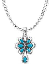 Carolyn Pollack - Turquoise Pendant Necklace (1-3/4 Ct. T.w.) In Sterling Silver - Lyst
