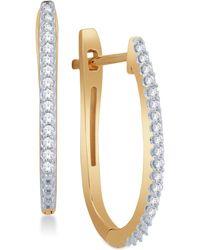 Macy's - Diamond Pavé Hoop Earrings (1/8 Ct. T.w.) In 10k Gold - Lyst