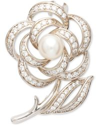Macy's Cultured Freshwater (6 1/2 -7mm) Pearl And Cubic Zirconia Rose Pin In Sterling Silver - Metallic