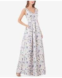 JS Collections - Floral-print Metallic Ball Gown - Lyst
