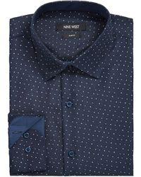 Nine West Slim-fit Performance Stretch Dash Arrow-print Dress Shirt - Blue