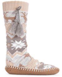 Muk Luks Slipper Socks With Tassels - White