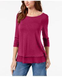 Style & Co. - Chiffon-hem Three-quarter-sleeve Top - Lyst